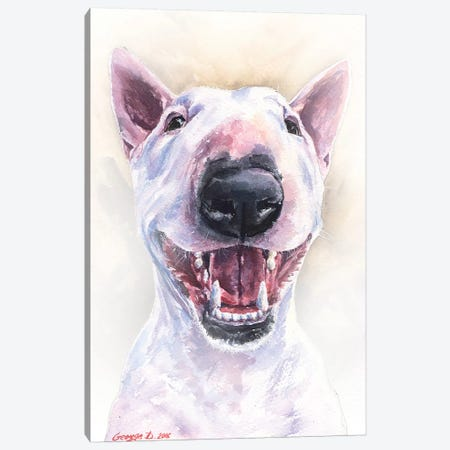 Happy Bull Terrier Canvas Print #GDY269} by George Dyachenko Canvas Artwork