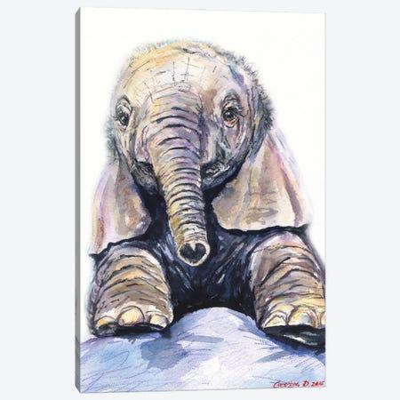 Elephant baby Canvas Print #GDY277} by George Dyachenko Canvas Art