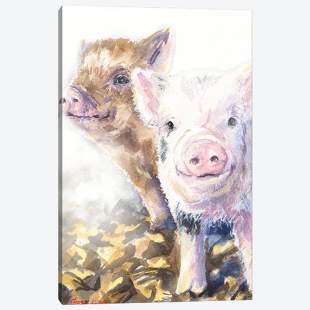 Pig friends Canvas Print #GDY286} by George Dyachenko Art Print