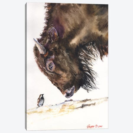 Buffalo And Sparrow Canvas Print #GDY28} by George Dyachenko Canvas Print