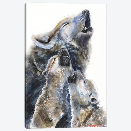 Wolf mother and her cubs Canvas Print #GDY292} by George Dyachenko Canvas Art Print