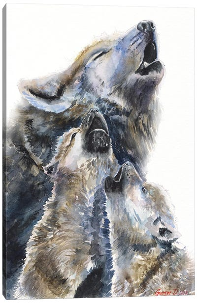 Wolf mother and her cubs Canvas Art Print