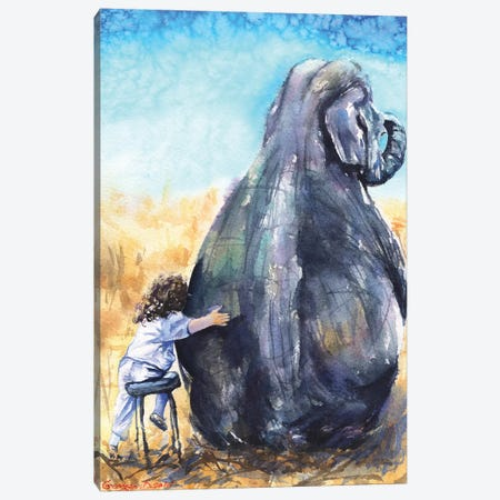 Child With Elephant Canvas Print #GDY39} by George Dyachenko Canvas Artwork