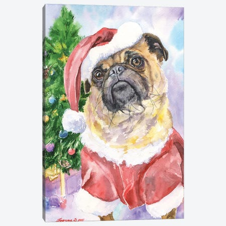 Christmas Pug Canvas Print #GDY40} by George Dyachenko Art Print
