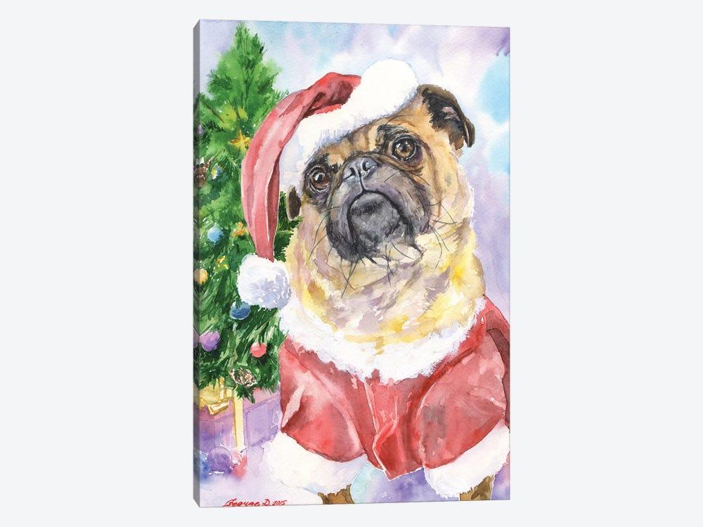 Christmas Pug by George Dyachenko 1-piece Canvas Artwork