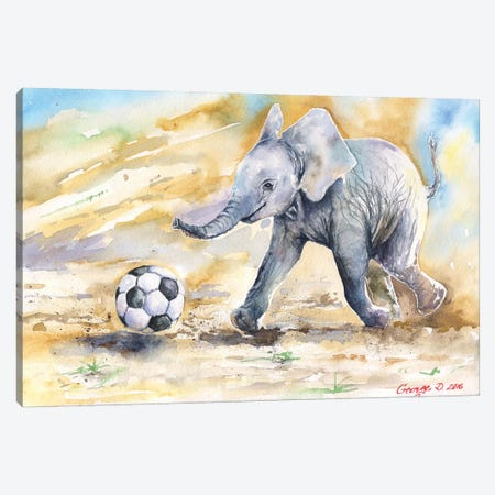 Elephant Calf And Ball Canvas Print #GDY56} by George Dyachenko Canvas Art Print