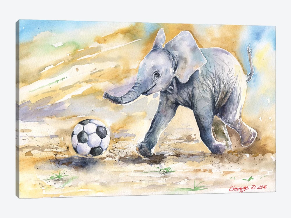 Elephant Calf And Ball by George Dyachenko 1-piece Canvas Art Print