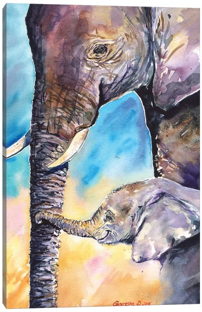 Elephant Mother & Calf Canvas Art Print