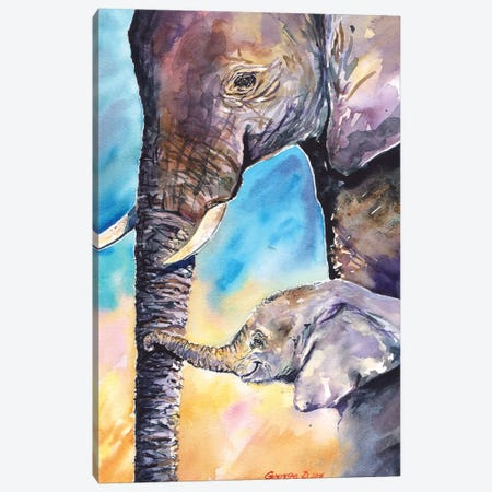 Elephant Mother & Calf Canvas Print #GDY57} by George Dyachenko Art Print