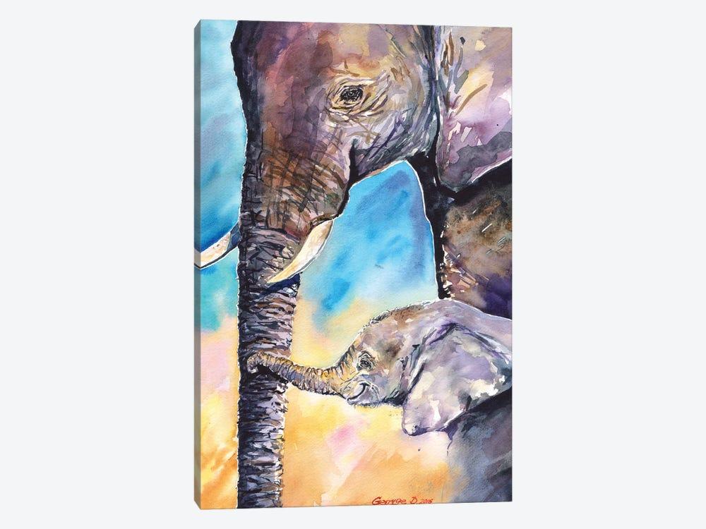 Elephant Mother & Calf by George Dyachenko 1-piece Canvas Art