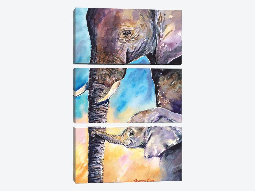Elephant Mother & Calf by George Dyachenko 3-piece Canvas Art