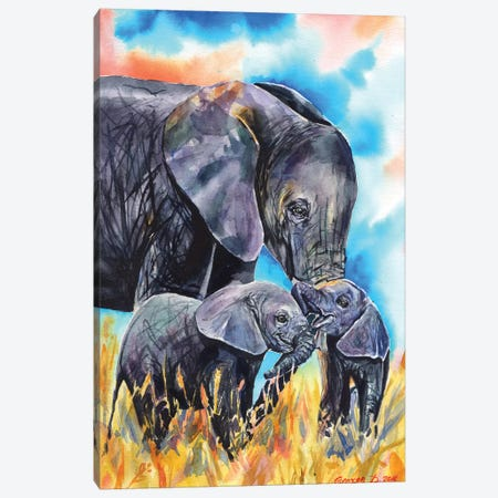 Elephant Mother & Calves Canvas Print #GDY58} by George Dyachenko Canvas Artwork