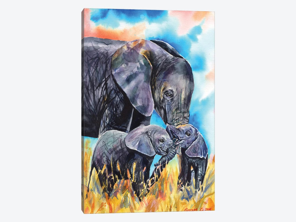 Elephant Mother & Calves by George Dyachenko 1-piece Art Print