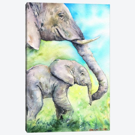 Elephants Happy Family Canvas Print #GDY59} by George Dyachenko Canvas Artwork