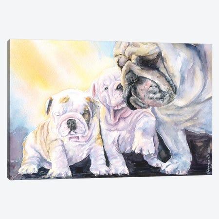 English Bulldog Family Canvas Print #GDY60} by George Dyachenko Art Print