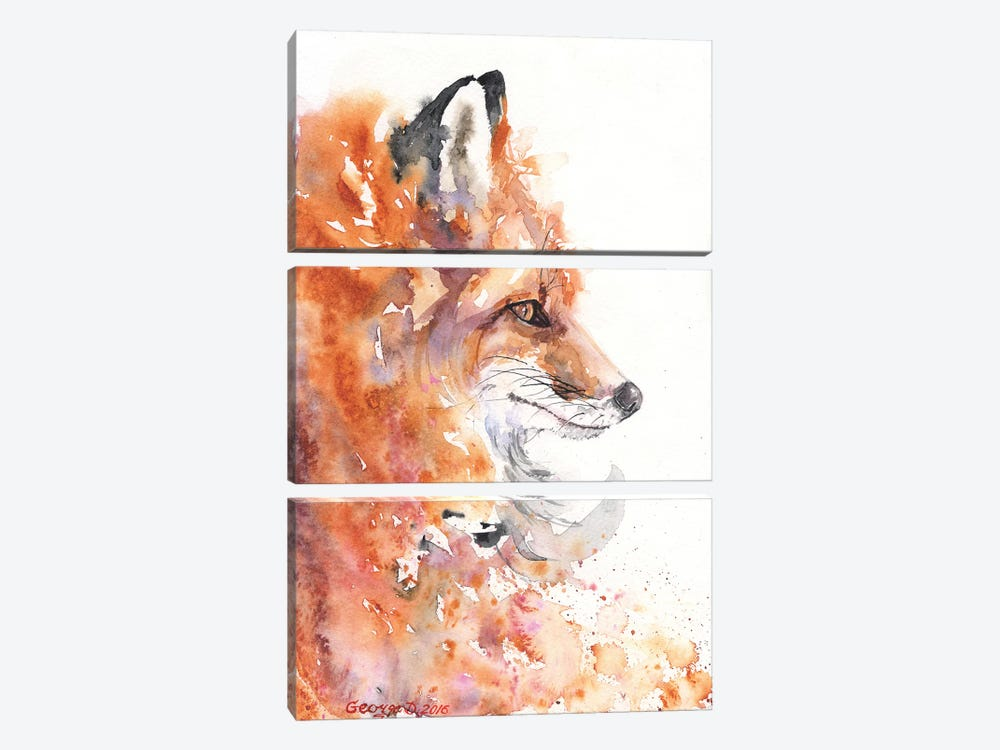 Fire Fox by George Dyachenko 3-piece Canvas Print