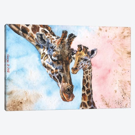 Giraffe Family I Canvas Print #GDY76} by George Dyachenko Canvas Print