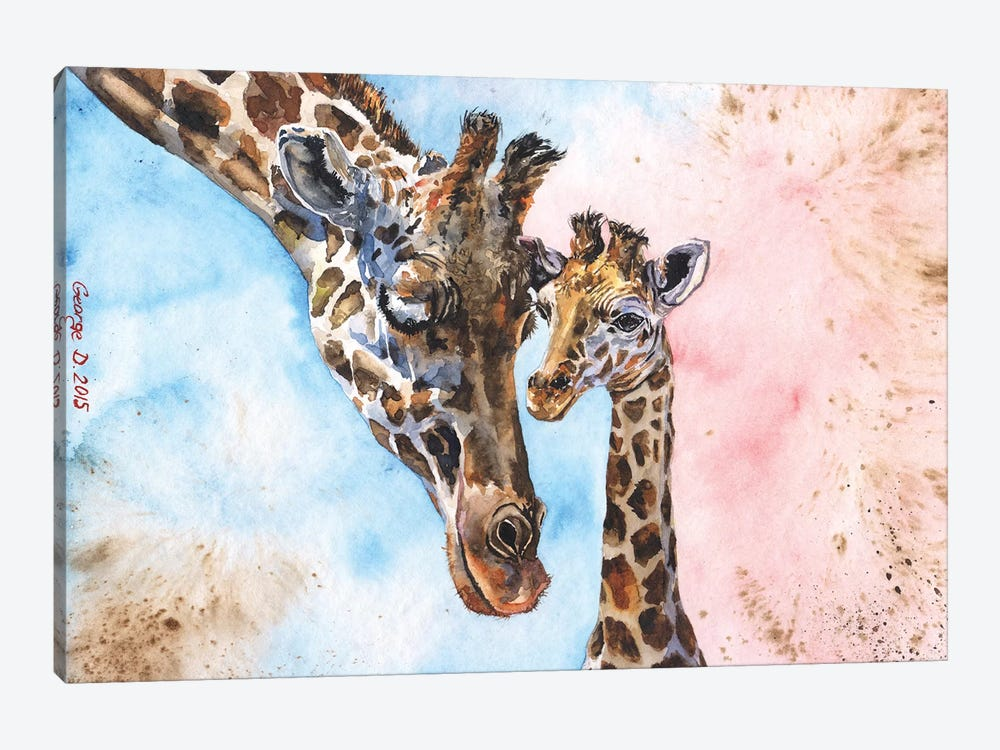 Giraffe Family I 1-piece Canvas Print