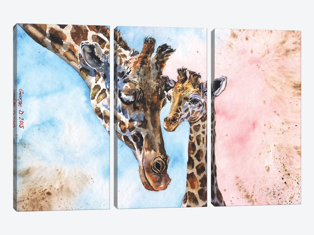 Giraffe Family I by George Dyachenko 3-piece Canvas Art Print