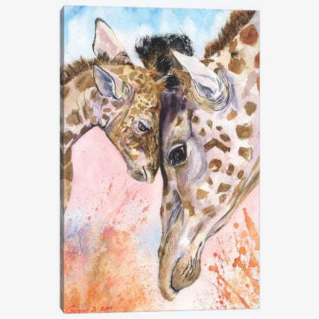 Giraffe Family II Canvas Print #GDY77} by George Dyachenko Art Print