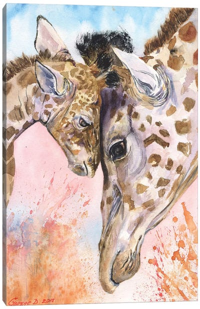Giraffe Family II Canvas Art Print