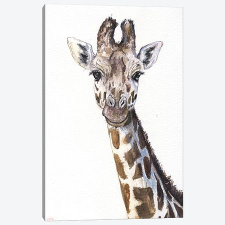 Giraffe On White Canvas Print #GDY80} by George Dyachenko Art Print