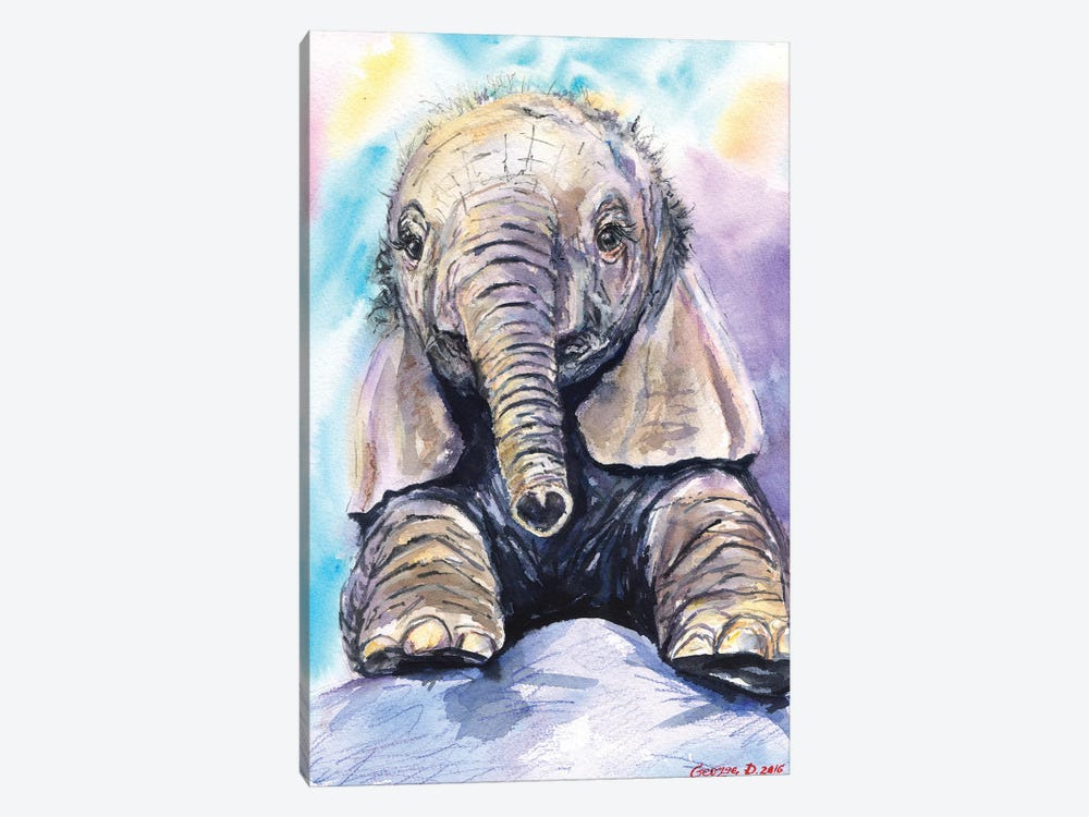 Happy Baby Elephant by George Dyachenko 1-piece Canvas Wall Art