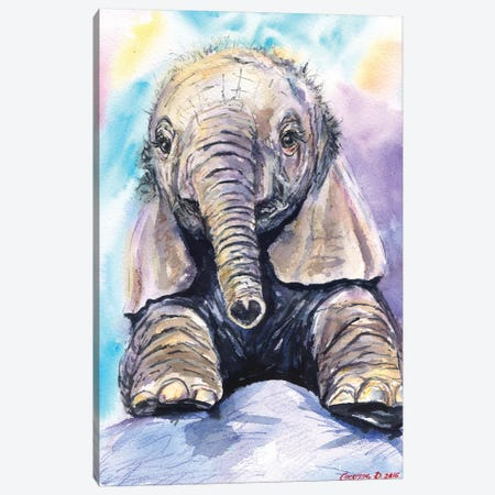 Happy Baby Elephant Canvas Print #GDY88} by George Dyachenko Art Print