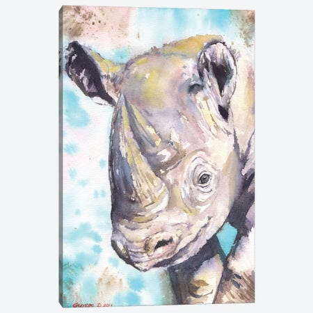 Happy Baby Rhino Canvas Print #GDY89} by George Dyachenko Art Print