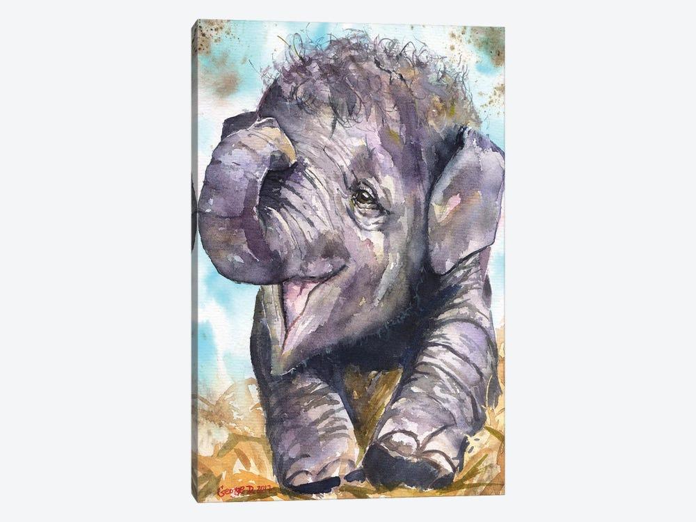 Happy Elephant by George Dyachenko 1-piece Canvas Artwork