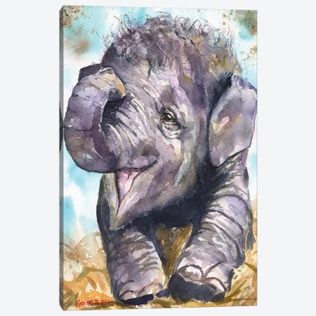 Happy Elephant Canvas Print #GDY91} by George Dyachenko Canvas Artwork