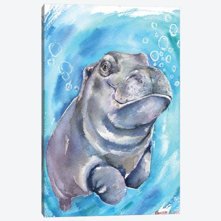 Hippo Baby I Canvas Print #GDY95} by George Dyachenko Canvas Art Print