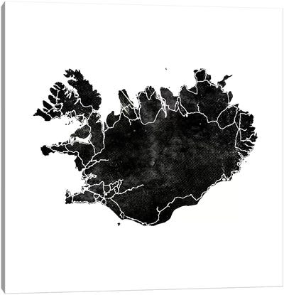 Black Iceland Map Black II Square Canvas Art Print