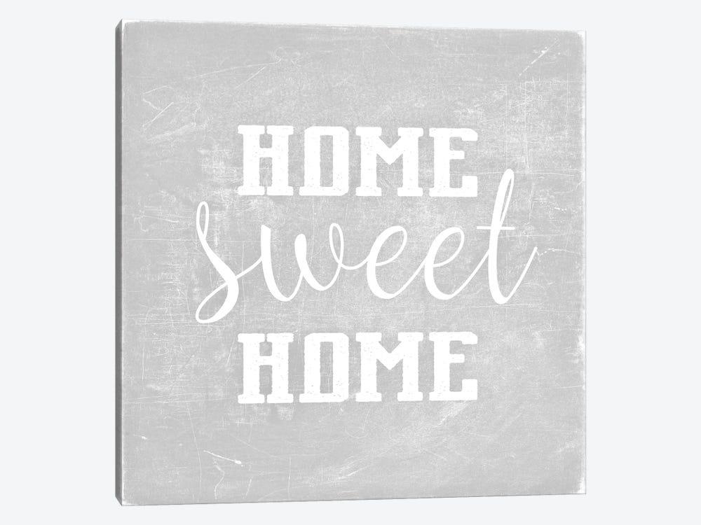 Home Sweet Home Light Grey Square by Monika Strigel 1-piece Canvas Wall Art