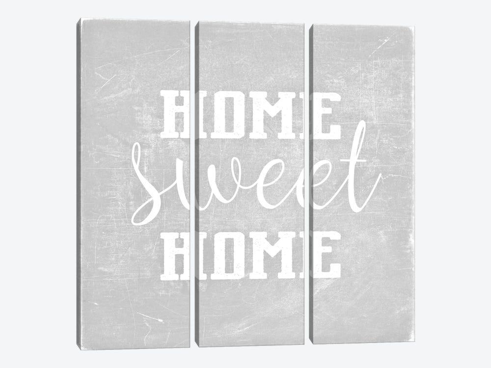 Home Sweet Home Light Grey Square by Monika Strigel 3-piece Canvas Wall Art