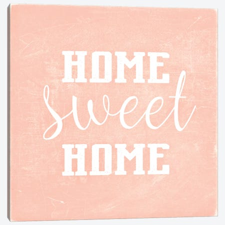 Home Sweet Home Scandi Coral Square Canvas Print #GEL186} by Monika Strigel Canvas Print