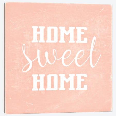 Home Sweet Home Scandi Coral Square Canvas Print #GEL186} by Monika Strigel Canvas Print