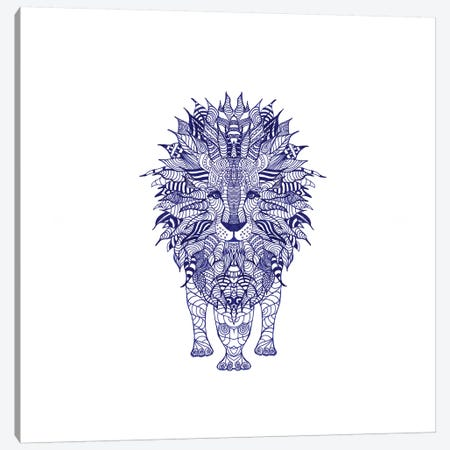 Blue Lion Canvas Print #GEL18} by Monika Strigel Canvas Wall Art