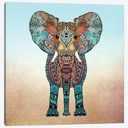 Boho Summer Elephant Canvas Print #GEL19} by Monika Strigel Canvas Art