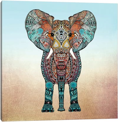 Boho Summer Elephant Canvas Art Print