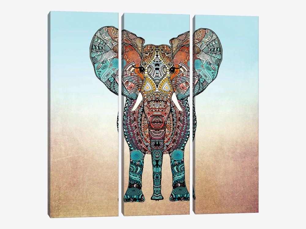 Boho Summer Elephant by Monika Strigel 3-piece Canvas Art Print