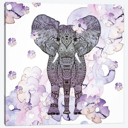 Flower Shower Elephant Canvas Print #GEL23} by Monika Strigel Canvas Art Print