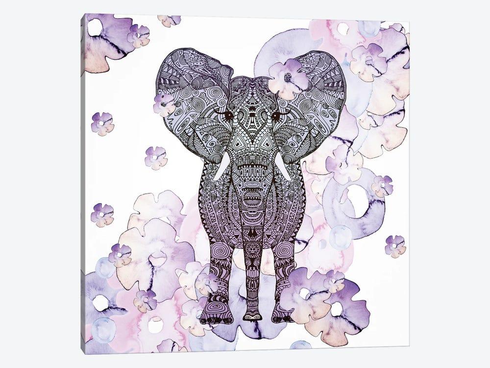 Flower Shower Elephant by Monika Strigel 1-piece Canvas Art