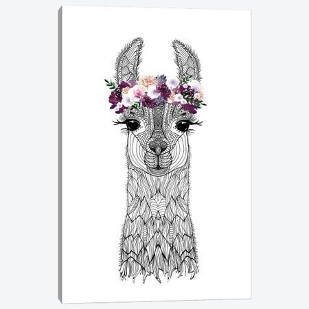 Flower Girl Alpaca Canvas Print #GEL24} by Monika Strigel Canvas Artwork