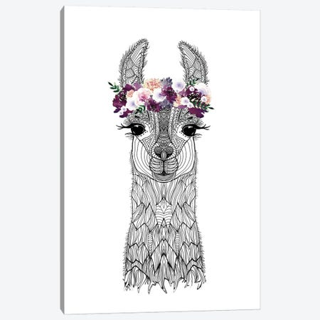 Flower Girl Alpaca Canvas Print #GEL24} by Monika Strigel Canvas Artwork