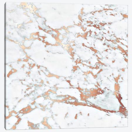 Rosegold Marble Square Canvas Print #GEL251} by Monika Strigel Canvas Wall Art