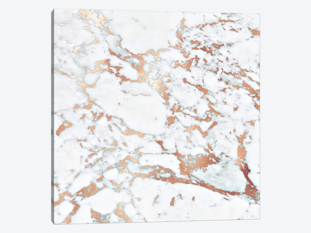 Rosegold Marble Square by Monika Strigel 1-piece Canvas Artwork
