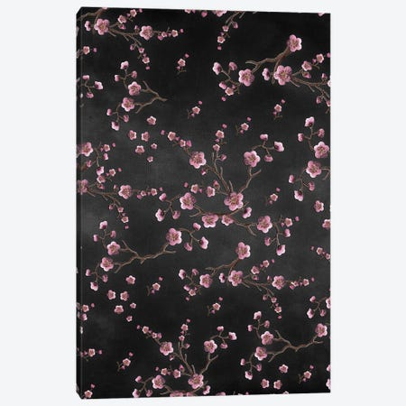 Sakura Black Canvas Print #GEL265} by Monika Strigel Canvas Artwork