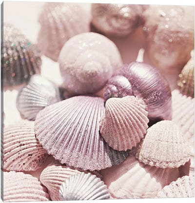 Shells And Glitter Square Canvas Art Print