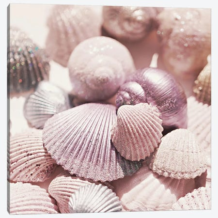 Shells And Glitter Square Canvas Print #GEL268} by Monika Strigel Canvas Art Print